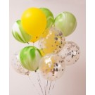12pcs Yellow,Green and Silver Confetti 12in Latex Balloon Set