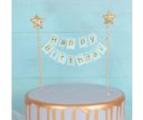 Gold star Happy Birthday Blue Cake Banner