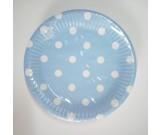 Polka Dot Blue Paper Dessert Plates 20pcs