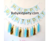 Happy Birthday Blue Flag Banner with Paper Tassels package
