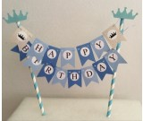 Blue Happy Birthday Cake Banner