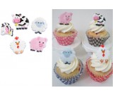 FARM Animals Cow Pig Lamb Chicken Party CupCake Rings