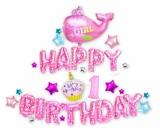Girl 1st Birthday Foil Balloons Set