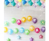 """12"""" HAPPY BIRTHDAY Printed Latex Balloons with 5pcs 5in Colourful Star Foil Balloons"""