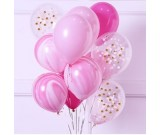 12pcs Pink Theme and Confetti 12in Latex Balloon Set A