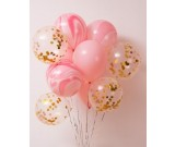 12pcs Pink Theme and Confetti 12in Latex Balloon Set C