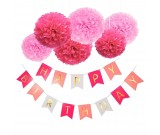 Happy Birthday Pink Flag Banner with Pink Fluffy Ball Decorations package