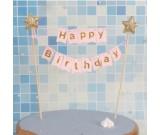 Gold star Happy Birthday Pink Cake Banner