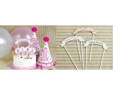 Pink Dotted Happy Birthday Small Pick Banner for Cake