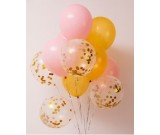12pcs Pink, gold and gold Confetti 12in Latex Balloon Set E