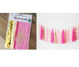 Pink Theme Paper Tassels Garland 20pcs set