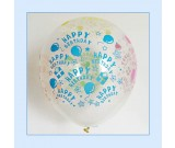 "12"" Happy Birthday Transparent Latex Balloons"